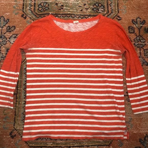 JCrew orange stripe t-shirt size S. 3/4 sleeves